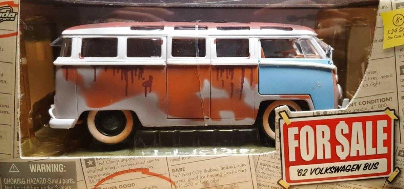 Wow extrêmement rare Volkswagen T1 Samba Bus 1962 Barn Find vente Entièrement neuf dans sa boîte 1 24 Jada