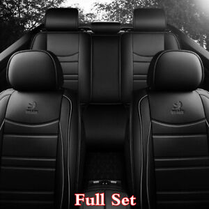 Black-PU-Leather-5D-Full-Coverage-Car-Seat-Cover-Cushions-Interior-Accessories