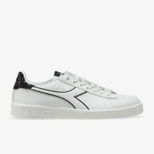 Dettagli su Scarpe da donna Diadora Game p wn Sneaker bianco nero glitter 20006 pelle nuovo