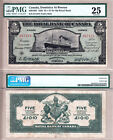 Rare Large Exotic Issue 1920 $5 Royal Bank Dominica *Steamship*; PMG VF25!