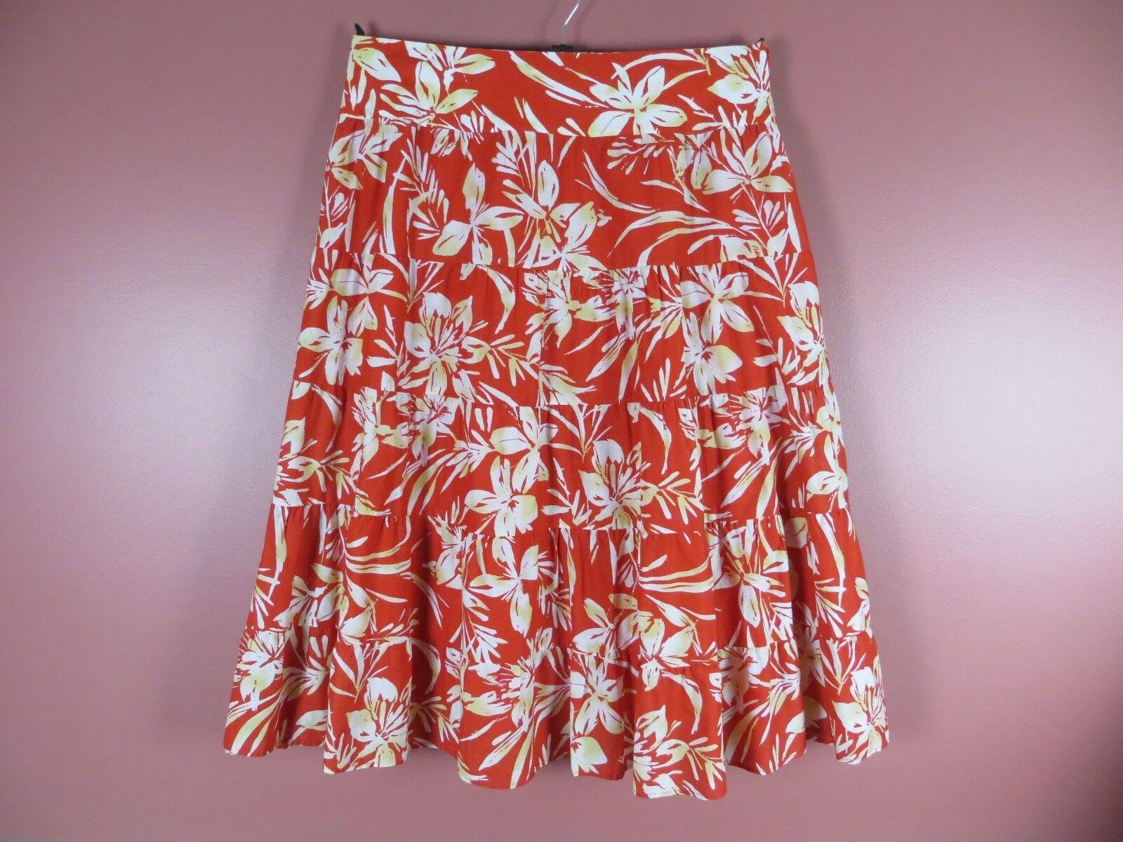 SK12642-JONES NEW  YORK Women Cotton Paneled Flared Skirt Multi-color Floral 18W