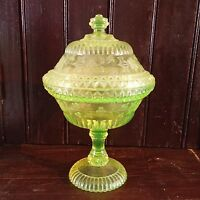 ANTIQUE VASELINE URANIUM DEPRESSION GLASS COMPOTE DISH W LID