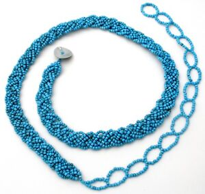 Turquoise-Blue-Belt-Triple-Braided-Glass-Beads-Strand-6-Strands-Lady-039-s-Boho