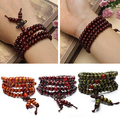 HOT Sandalwood Buddhist Buddha Meditation Prayer Bead Mala Bracelet Necklace 6mm