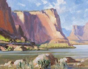 TOM-HAAS-b1952-039-Around-the-Bend-039-oil-11x14-Grand-Canyon-Colorado-River-Arizona