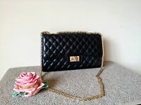 Luxe Quilted Gold Chain Strap Handbag Crossbody Bag Purse Black
