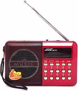 Radio H011U radiolina FM Rossa USB Ricaricabile microSD Mini Lettore MP3 JOC