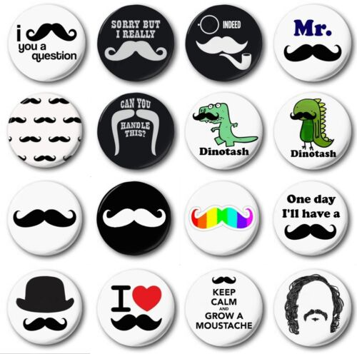"MOUSTACHES Novelty Cute Various Designs - 1/"" // 25mm Button Badge"