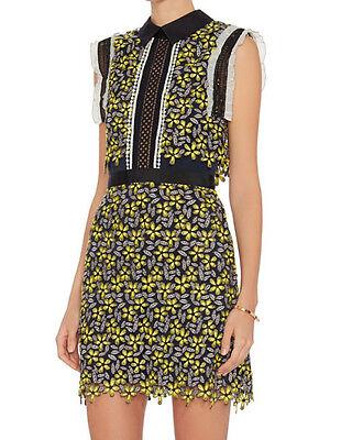 Eleina Crocheted Flower Daisy Collar Navy Blue Open-Back Dress