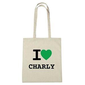 Umwelttasche - I love CHARLY - Jutebeutel Ökotasche - Farbe: natur