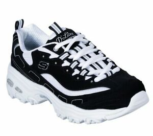 Skechers-D-039-lites-White-Black-Shoes-Women-Sport-Casual-Comfort-Memory-Foam-11930