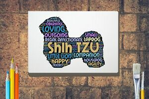 Shih-Tzu-Word-Art-Canvas-A4-A3-A2-A1-Mothers-Day-Gift-Personalised-Option
