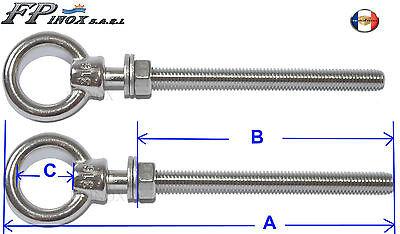 Anneaux tige filetée BOIS A2 Longueur 80mm Lot de 2 inox 304 8mm
