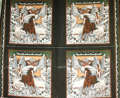 1 Yd Western Horse Quilt Fabric Pillow Panel Horses in Snow Country Winter