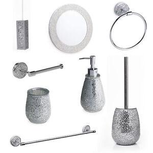 Bathroom Accessories Set Silver Mosaic, Silver Bathroom Accessories Set