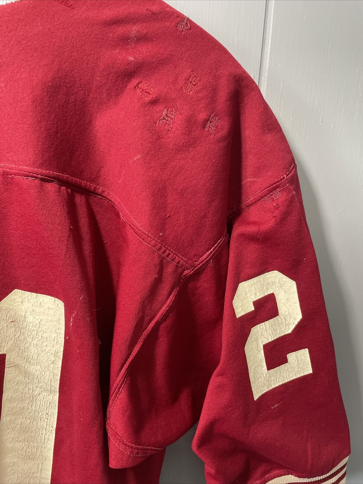 VTG 70's Russell Athletic Red Football Jersey #21… - image 10