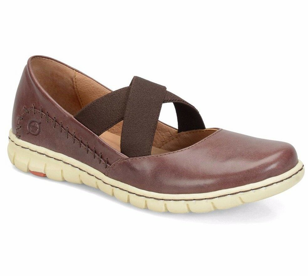 BORN Damens LARNEY Criss-Cross Marry Janes Schuhe Slip-On Casual LEATHER BROWN 6 M