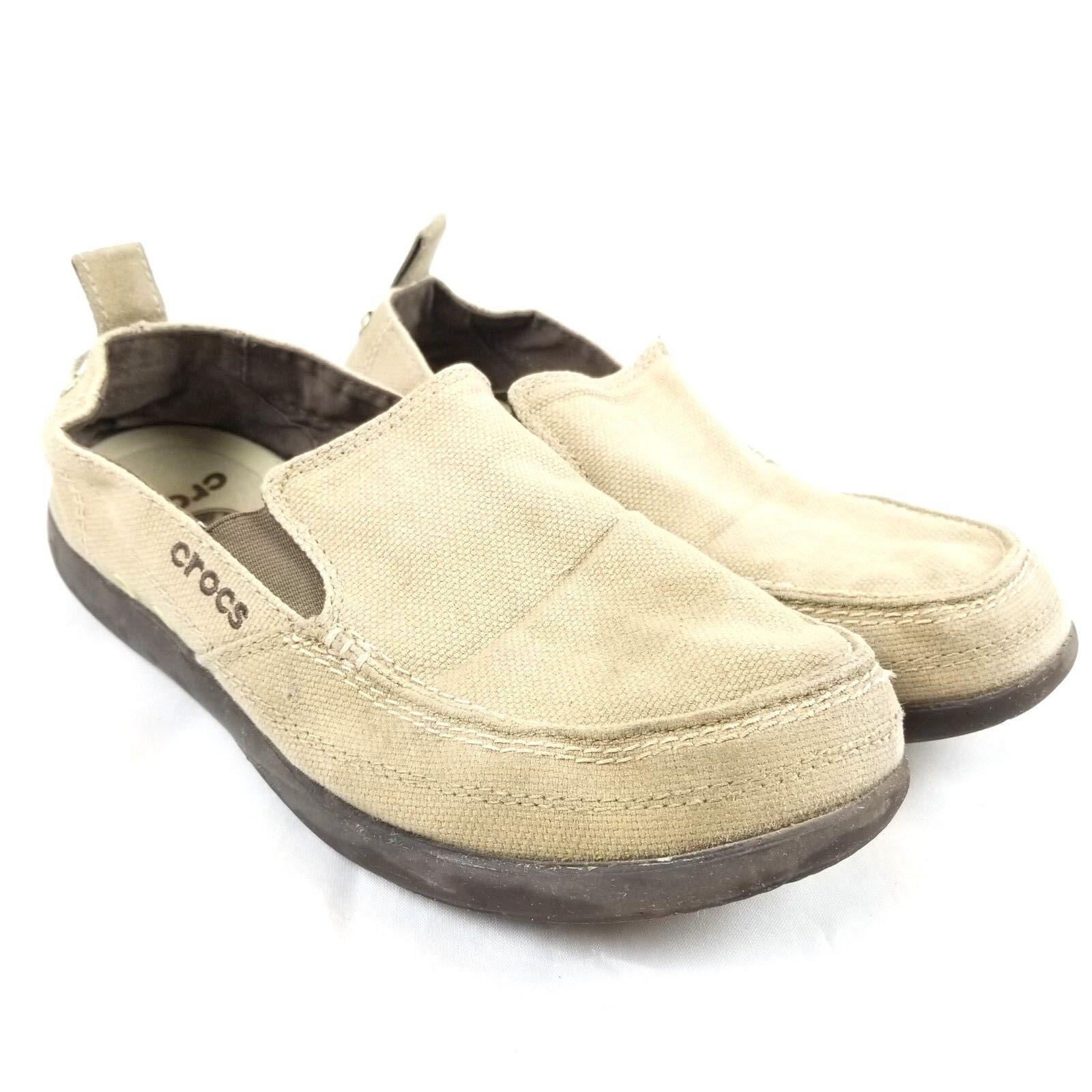 CROCS Walu 11270 Men's Size 9M Khaki Espresso Canvas Loafer Slip Ons