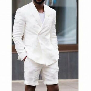 White-Double-Breasted-Summer-Wedding-Short-Pant-Terno-Tuxedos-Mens-Suit-Blazer