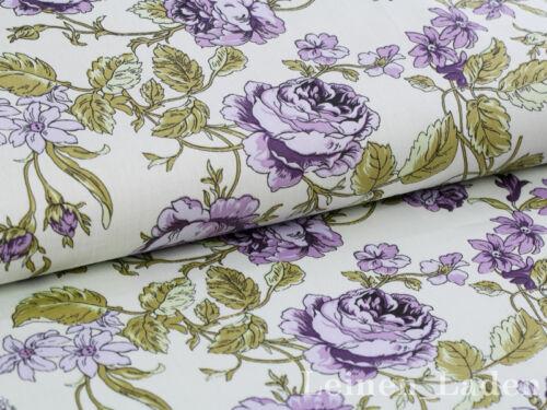 algodón 0,5 m vintage rosas sustancia rosas sustancias antiguedad y rosas tierna azul
