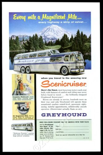 1954 Greyhound bus lines Scenicruiser color pic vintage print ad