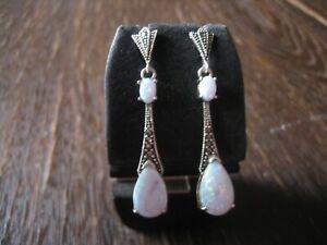 Traumhaft-schoene-Opal-Markasit-Ohrringe-Haenger-im-Art-Deco-Stil-925er-Silber