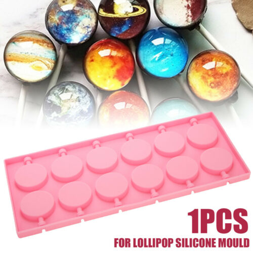 12 Round Shape Silicone Lolli Tray Mould Candy Chocolate Lolly Mold Sticks