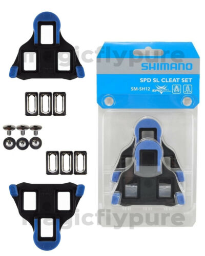 Shimano SM-SH12 SPD SL Road Racing Bike Pedals Cleat Set 2° Blue