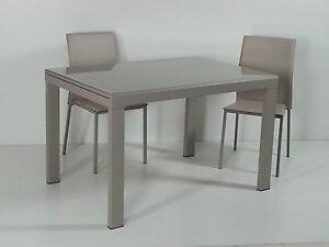 Tavolo madison grigio bianco e tortora piana vetro cucina soggiorno