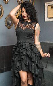 44a8fac81e4 Dracula Clothing Bat Ruffle Dress Black Brocade High Low Hem Gothic ...