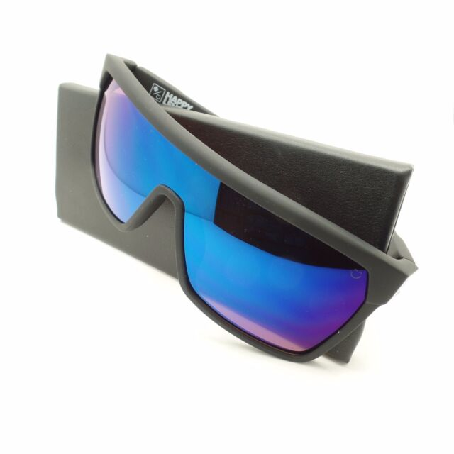 ee7178e454 Spy Optics Flynn Soft Matte Black Happy Blue Spectra New Sunglasses  Authentic