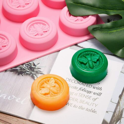 2Pcs Bee Silicone Molds Round Honeybee Soap  Molds for DIY Homemade Soaps