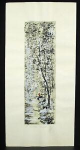 Gravure Réhaussée à L'aquarelle Signée Artiste à Déterminer Print Le Ruisseau Jolie Et ColoréE