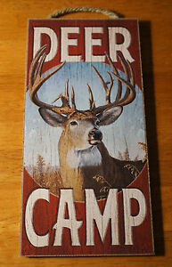 DEER CAMP Rustic Wood Grain Hunting Lodge Hunter Cabin Home Decor Buck SIGN -NEW