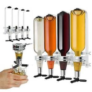 Wall Mounted 4 Bottle Stand Optic Dispenser Drink Wine Spirits Steel Rack Tool