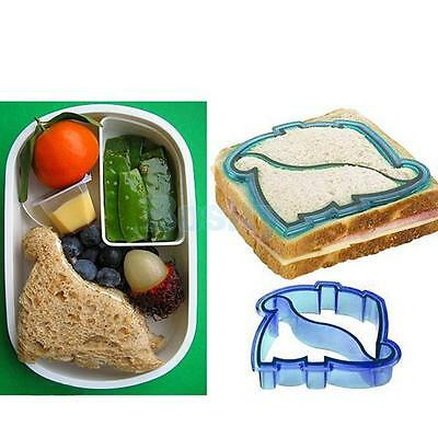 Blue PP Dinosaur Shaped Crust Edge Sandwich Cookie Biscuit Cutter 11.6x11x2.8cm