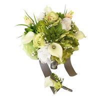 Bouquet And Boutonniere -lime Green & White Artificial Roses, Mums, Calla Lilies