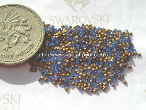 60 x Swarovski 2ss 5pp Sapphire gold-foiled #1100 chatons