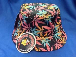 2b1c2732557b2 Pink Orange Teal Weed Leaf Printed Black Full-Brim Bucket Hat ONE ...