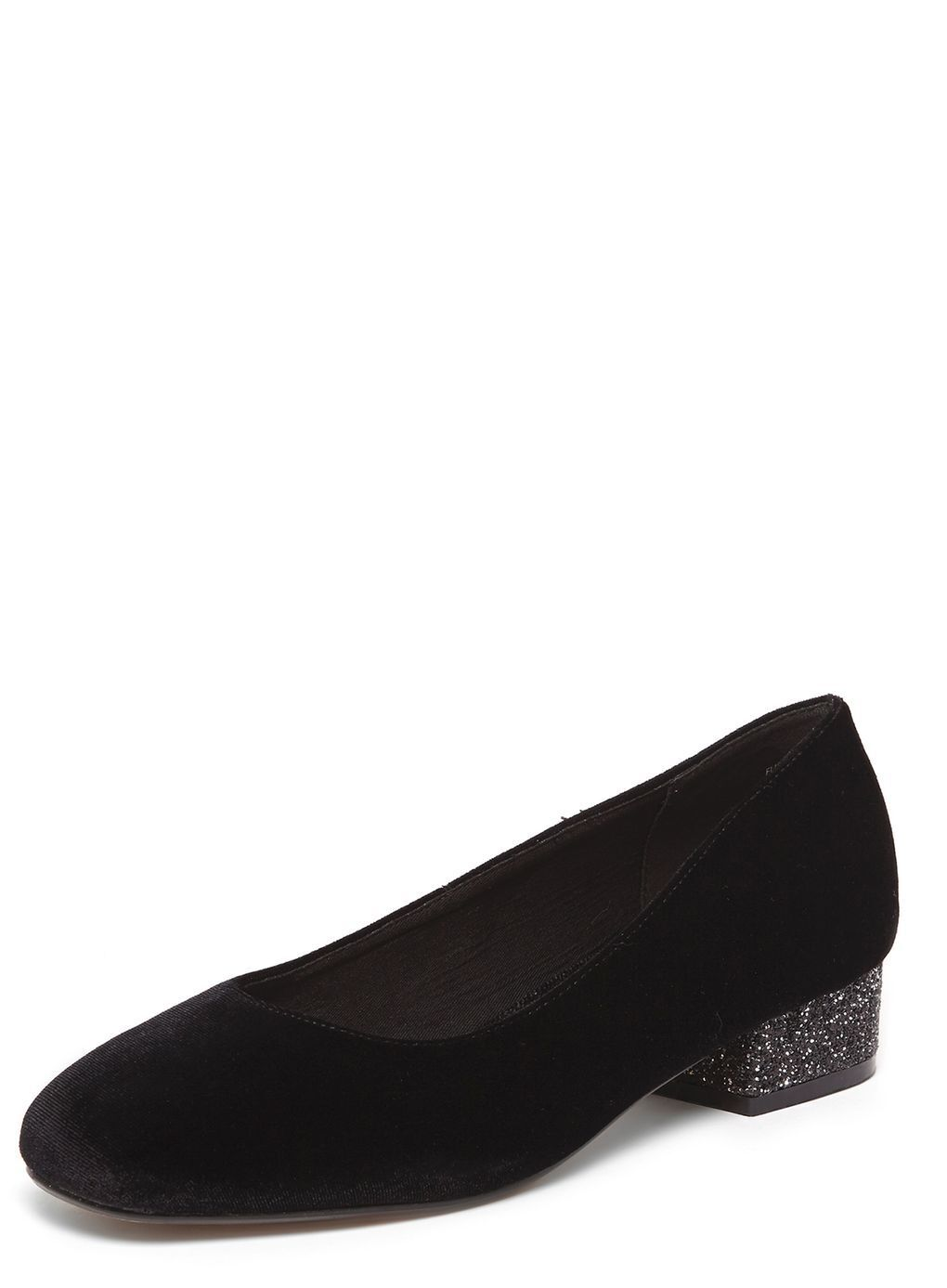 Evans FLISS Black Glitter Block Heel Court shoes UK 8 EU 41 EEE Fit JS45 94 SALEx