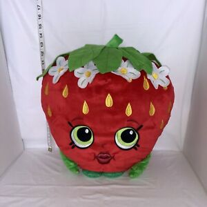 Shopkins-Strawberry-Kiss-Soft-Plush-Pillow-Red-Flowers-Embroidered-14-034-x-15
