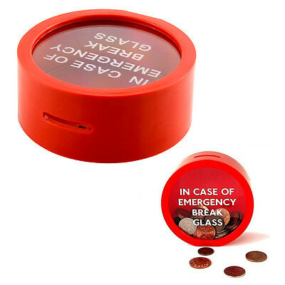 Simple Red Money Box Saving Bank In Case Of Emergency Coin Smash Piggy Bank