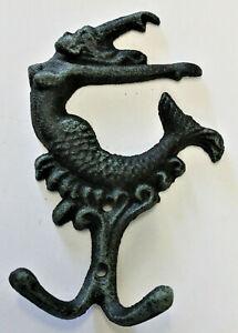 Cast Iron Pelican Double Hook Wall Mount Painted Antique Bronze Nautical Decor