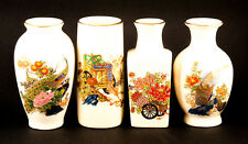 "Vases Minature 3.5"" Japanese Mayiko Set of 4 Flower & Bird Design Colorful"