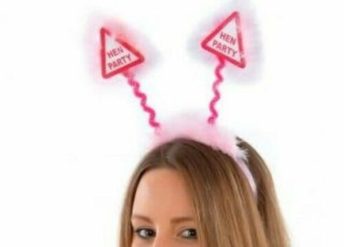 HEN PARTY HEAD BOPPERS Girls Ladies Night Out Stag Do Pink Headband Lot NEW UK
