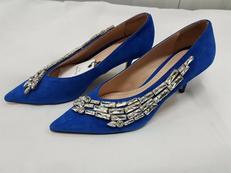 ZARA Electric Blau Embellished Jewelled Crystal Court Schuhes Heels UK 4 Euro 37