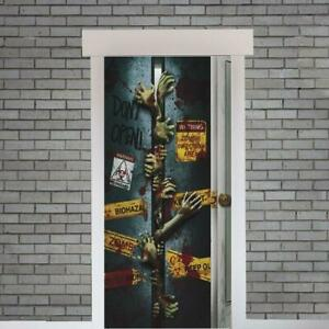 Spooky-Halloween-034-Let-Me-In-034-Zombie-Door-Cover-Entrance-Banner-Party-Decoration