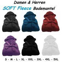 HERREN DAMEN Microfaser Soft Fleece Bademantel Kapuze Taschen Morgenmantel