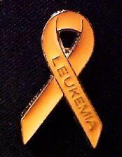Orange Awareness Ribbon Lapel Pin Tac Gold Lettering Made in USA Leukemia New