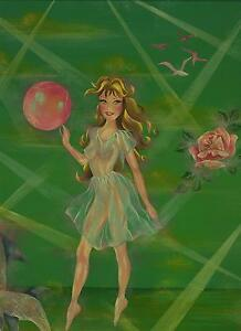 ARTISTIC NUDE WOMAN SEA NYMPH SPRITE BALLERINA DOLPHIN ROSE GREEN OCEAN PAINTING